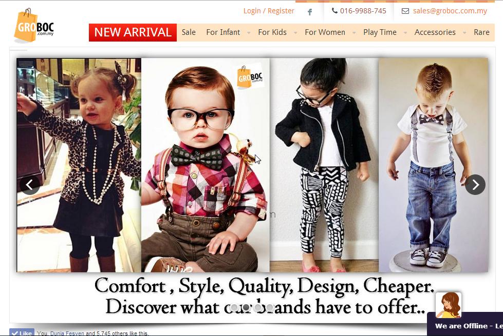 Kedai Online Pakaian Bayi & Kanak-Kanak | Groboc.com.my